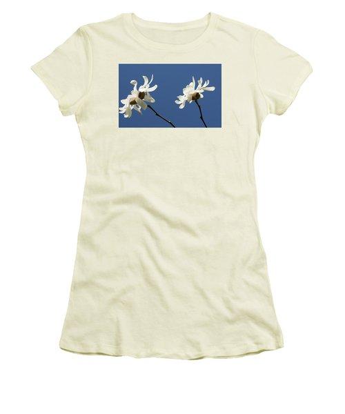 Spring Magnolias Women's T-Shirt (Junior Cut) by Haleh Mahbod