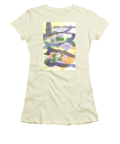 Women's T-Shirt (Junior Cut) featuring the painting Springtime Wildflower Camouflage  by Kip DeVore