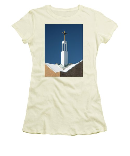 Women's T-Shirt (Athletic Fit) featuring the photograph St Benedicts Church Rooftop by Gary Slawsky