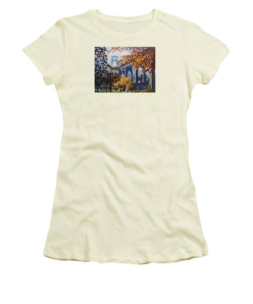 Women's T-Shirt (Junior Cut) featuring the painting St Johns Autumn by Karen Ilari