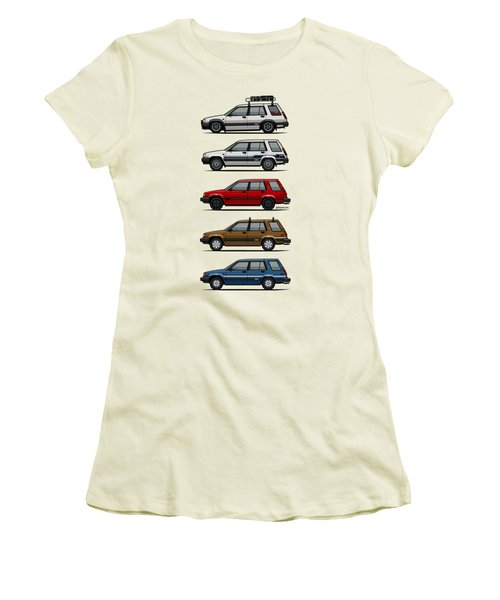 Stack Of Toyota Tercel Sr5 4wd Al25 Wagons Women's T-Shirt (Junior Cut) by Monkey Crisis On Mars