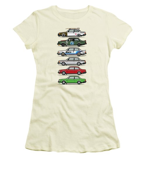 Stack Of Volvo 242 240 Series Brick Coupes Women's T-Shirt (Athletic Fit)