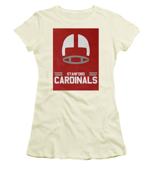 Stanford Cardinals Vintage Football Art Women's T-Shirt (Athletic Fit)