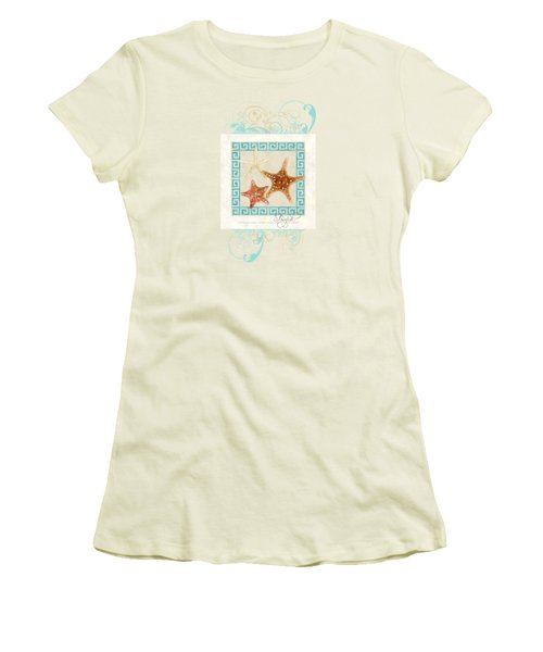 Women's T-Shirt (Junior Cut) featuring the painting Starfish Greek Key Pattern W Swirls by Audrey Jeanne Roberts