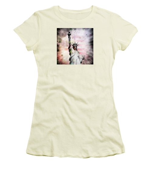 Women's T-Shirt (Junior Cut) featuring the digital art Statue Of Liberty by Phil Perkins