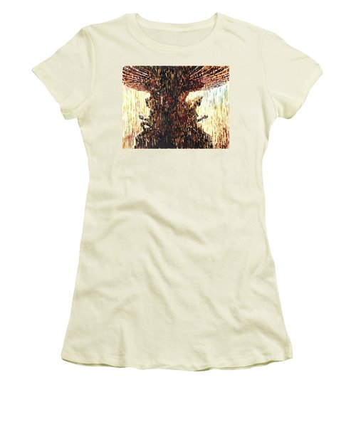 Women's T-Shirt (Junior Cut) featuring the painting Statues On Las Vegas Fountain- Las Vegas, Nevada by Ryan Fox