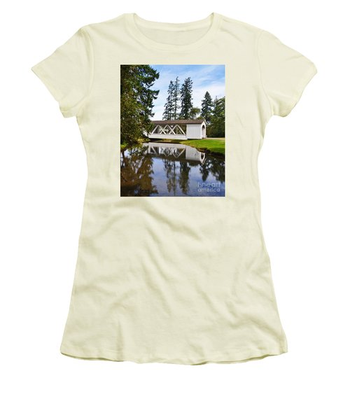 Stayton-jordon Covered Bridge Women's T-Shirt (Junior Cut) by Ansel Price