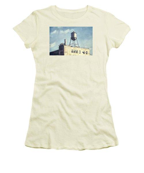 Women's T-Shirt (Junior Cut) featuring the photograph Steel Water Tower, Brooklyn New York by Gary Heller