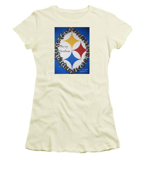 Women's T-Shirt (Junior Cut) featuring the painting Steelers Christmas Card by Jeffrey Koss