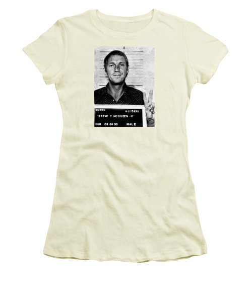 Steve Mcqueen Mug Shot Vertical Women's T-Shirt (Athletic Fit)
