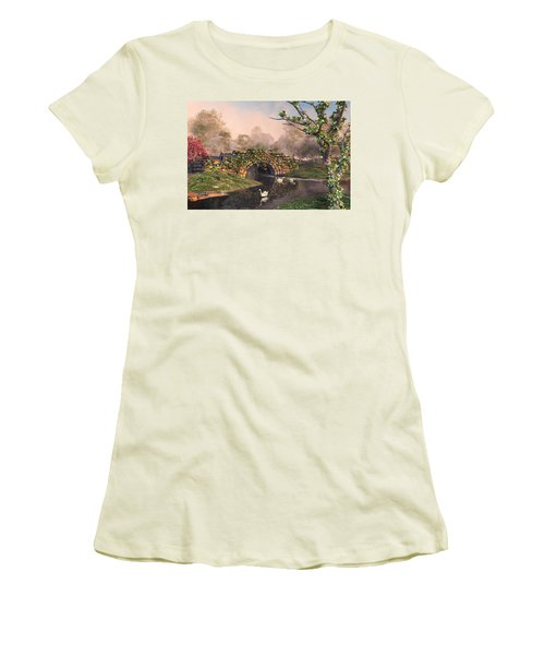 Women's T-Shirt (Athletic Fit) featuring the digital art Stone Bridge Two by Mary Almond