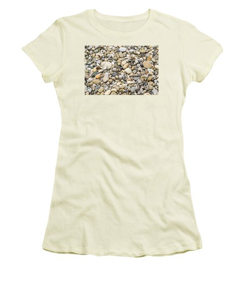 Women's T-Shirt (Junior Cut) featuring the photograph Stone Pebbles Patterns by John Williams