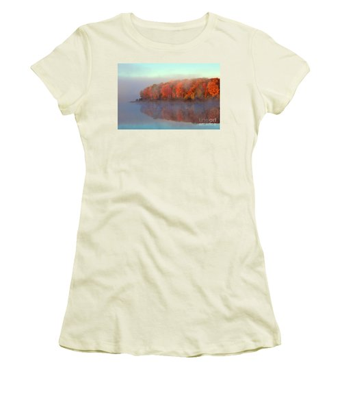 Stoneledge Lake Pristine Beauty In The Fog Women's T-Shirt (Junior Cut) by Terri Gostola
