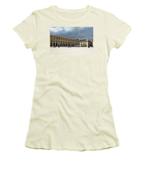 Storm Brews Over Commerce Square Women's T-Shirt (Junior Cut) by Lorraine Devon Wilke
