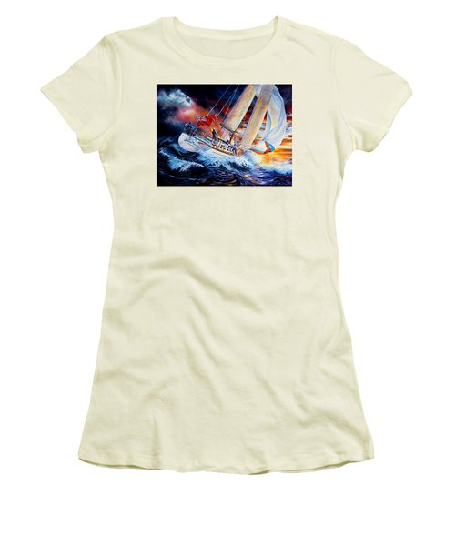 Women's T-Shirt (Athletic Fit) featuring the painting Storm Meister by Hanne Lore Koehler