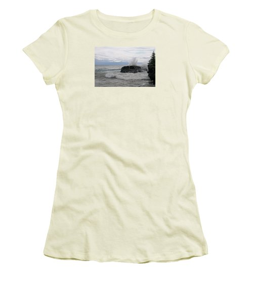 Women's T-Shirt (Junior Cut) featuring the photograph Stormy Morning On Superior by Sandra Updyke