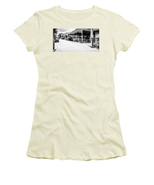 Women's T-Shirt (Junior Cut) featuring the photograph Street Scene On Caye Caulker by Lawrence Burry