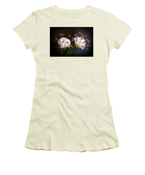 Women's T-Shirt (Junior Cut) featuring the photograph String Of Pearl Succulent Flowers by Catherine Lau