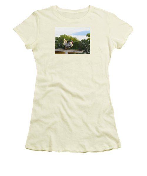 Women's T-Shirt (Junior Cut) featuring the photograph Strutting His Stuff by Brenda Pressnall