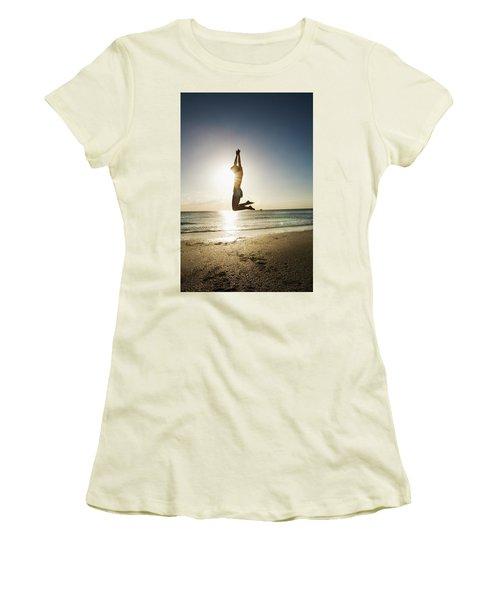 Summer Girl Summer Jump  Women's T-Shirt (Junior Cut) by Amyn Nasser