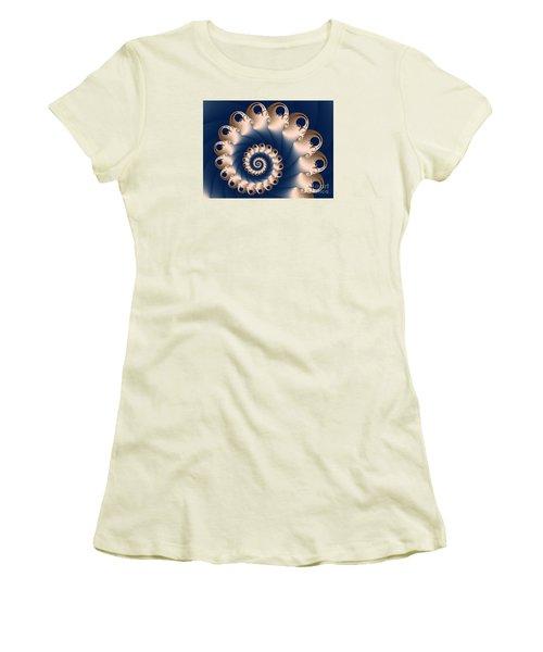 Women's T-Shirt (Junior Cut) featuring the digital art Sunday Spiral by Karin Kuhlmann