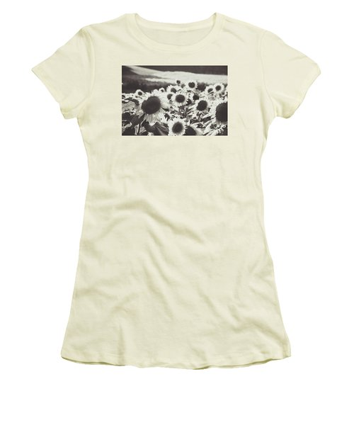 Women's T-Shirt (Athletic Fit) featuring the photograph Sunflower Black And White 1 by Andrea Anderegg