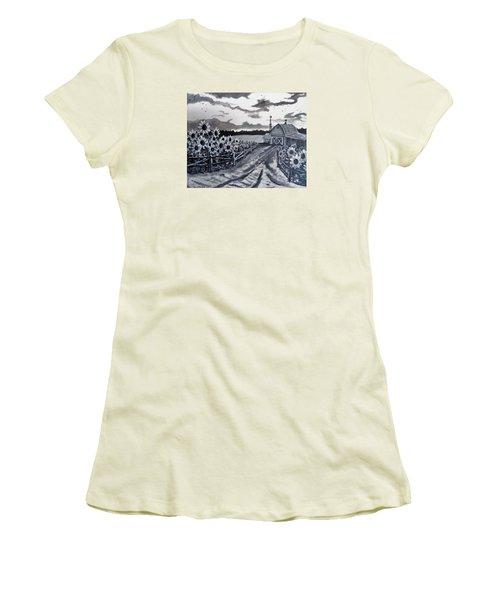 Sunflower Farm Women's T-Shirt (Junior Cut) by Kevin F Heuman