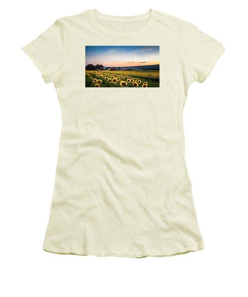Sunflowers, Moon And Stars Women's T-Shirt (Junior Cut) by Eduard Moldoveanu