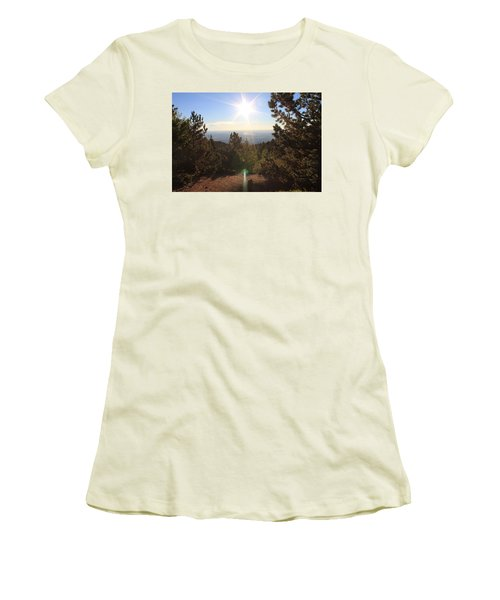 Women's T-Shirt (Junior Cut) featuring the photograph Sunrise Over Colorado Springs by Christin Brodie