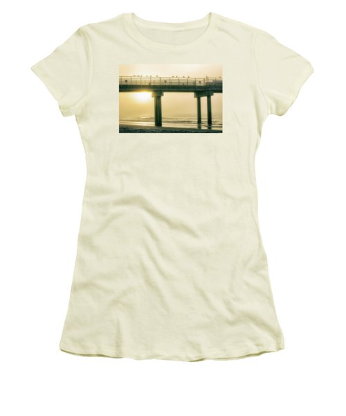 Women's T-Shirt (Junior Cut) featuring the photograph Sunrise Pier In Alabama  by John McGraw