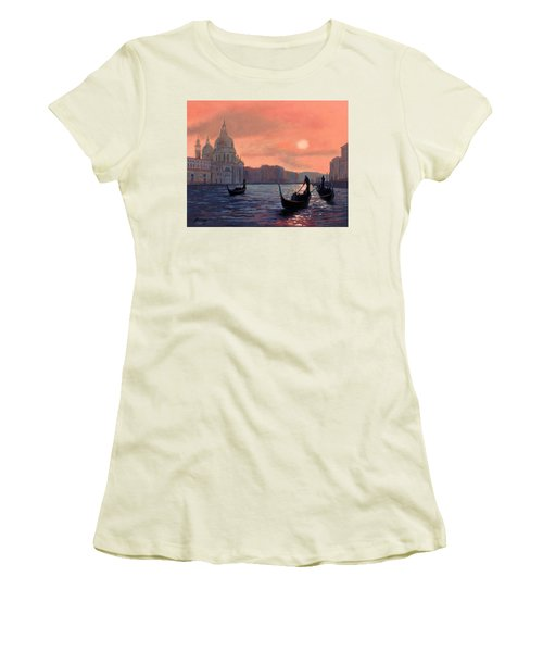 Women's T-Shirt (Junior Cut) featuring the painting Sunset On The Grand Canal In Venice by Janet King