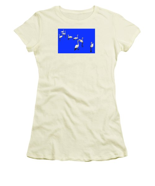 Women's T-Shirt (Junior Cut) featuring the photograph Swan Family On Blue by Constantine Gregory