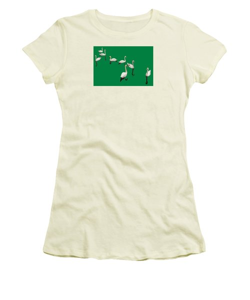 Women's T-Shirt (Junior Cut) featuring the photograph Swan Family On Green by Constantine Gregory