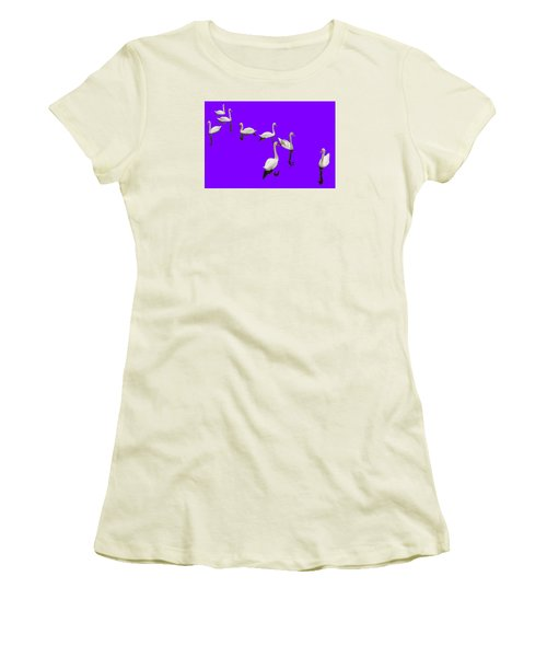 Women's T-Shirt (Junior Cut) featuring the photograph Swan Family On Purple by Constantine Gregory