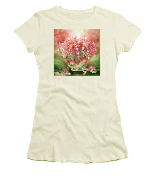 Women's T-Shirt (Athletic Fit) featuring the mixed media Sweet Peas In Sweet Pea Vase 2 by Carol Cavalaris