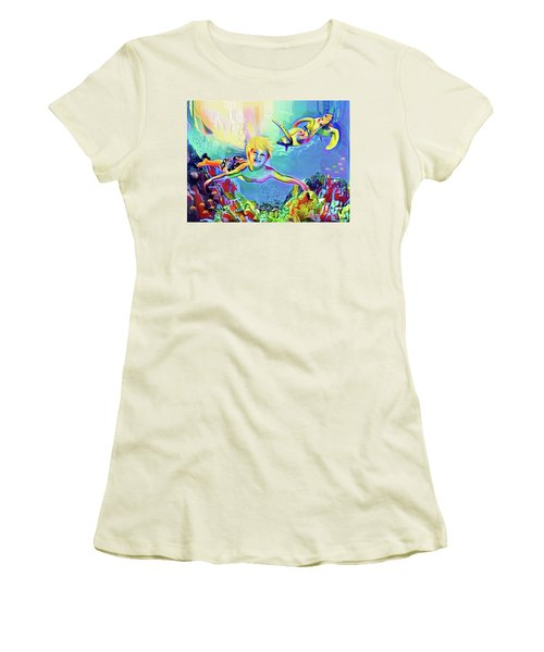 Swimming With Turtles Women's T-Shirt (Junior Cut) by Jann Paxton