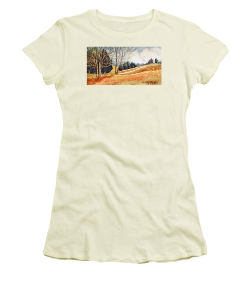 Women's T-Shirt (Junior Cut) featuring the painting Switchboard Rd by Katherine Miller