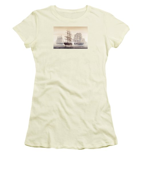 Tall Ships Women's T-Shirt (Junior Cut) by James Williamson