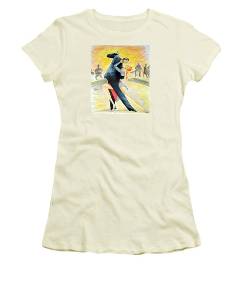 Tango Tangle -- Portrait Of 2 Tango Dancers Women's T-Shirt (Athletic Fit)