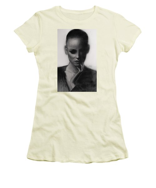 Women's T-Shirt (Junior Cut) featuring the painting Temporary Secretary by Jarko Aka Lui Grande