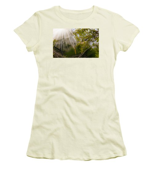Women's T-Shirt (Junior Cut) featuring the photograph Tending To The Nest by Kelly Marquardt