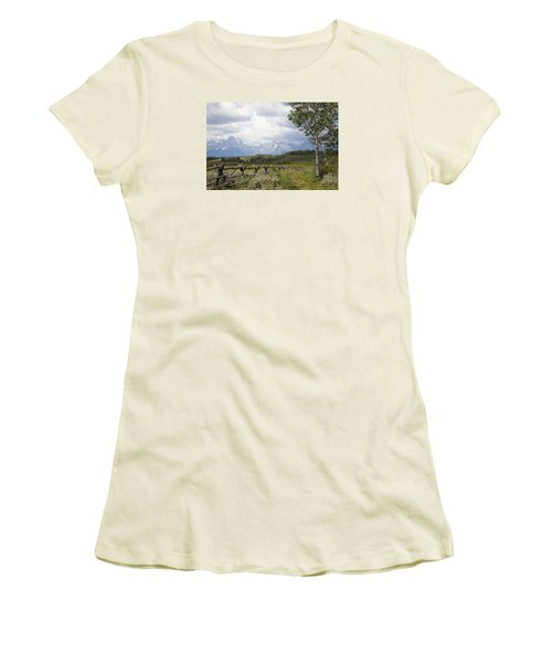 Teton Ranch Women's T-Shirt (Junior Cut) by Diane Bohna