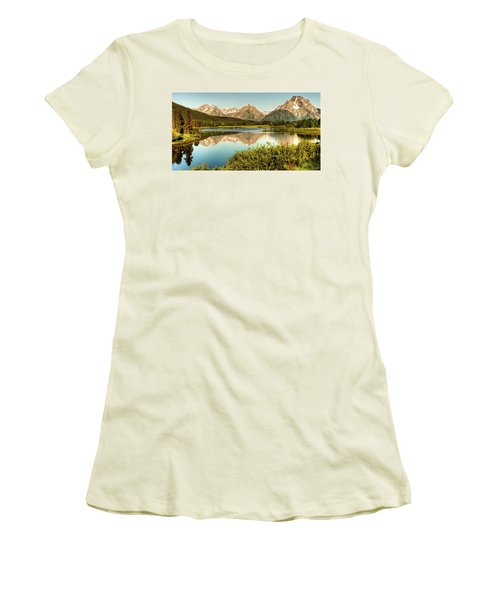 Women's T-Shirt (Junior Cut) featuring the photograph Teton Reflections by Rebecca Hiatt