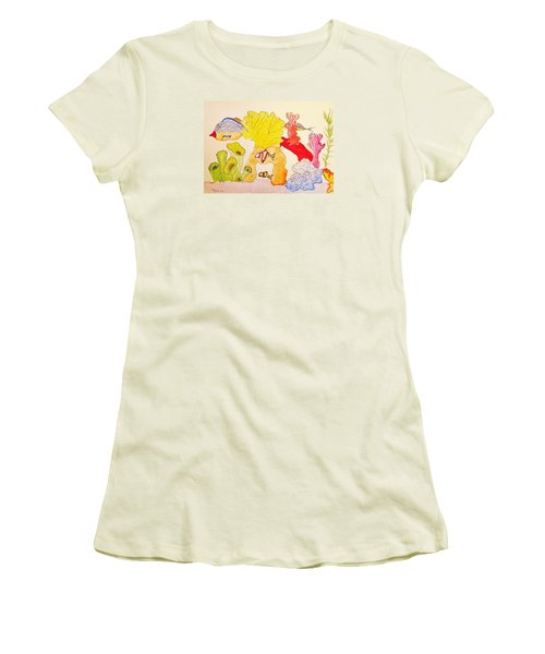 Women's T-Shirt (Junior Cut) featuring the painting The Age Of Aquarium by Rand Swift