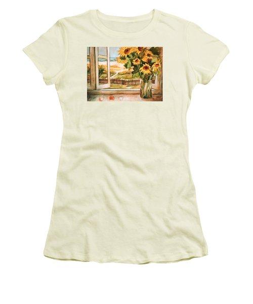 The Beach Sunflowers Women's T-Shirt (Junior Cut) by Winsome Gunning