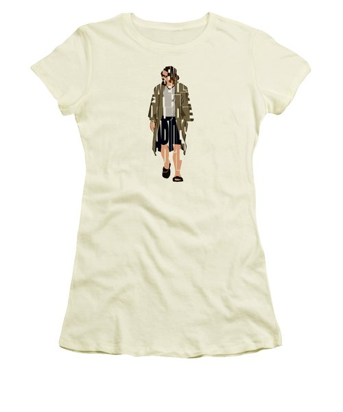 The Big Lebowski Inspired The Dude Typography Artwork Women's T-Shirt (Athletic Fit)