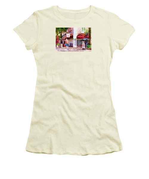 Women's T-Shirt (Junior Cut) featuring the painting The Biker by Judy Kay
