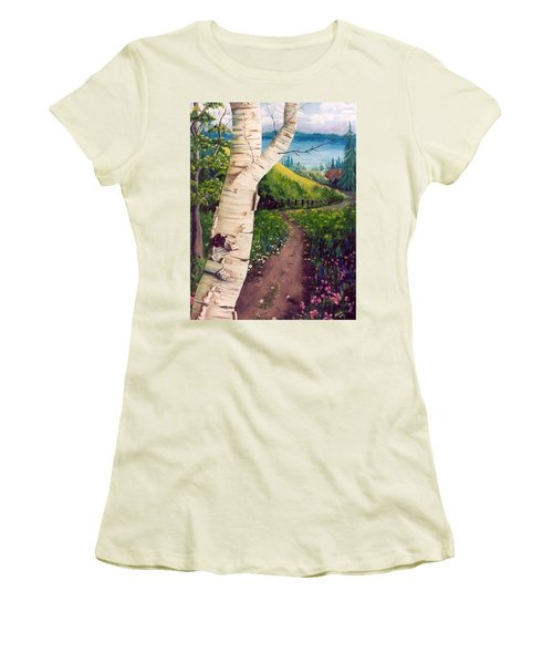 Women's T-Shirt (Junior Cut) featuring the painting The Birch by Renate Nadi Wesley