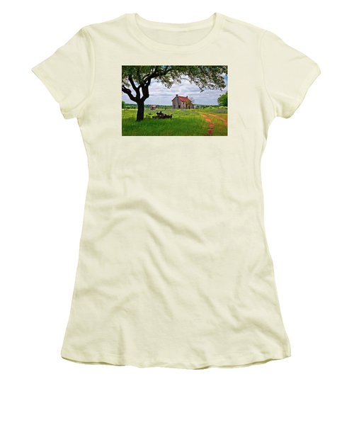 Women's T-Shirt (Junior Cut) featuring the photograph The Bluebonnet House by Linda Unger