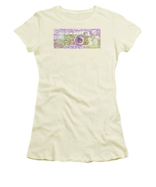 Women's T-Shirt (Junior Cut) featuring the digital art The Camera - 02c6 by Variance Collections